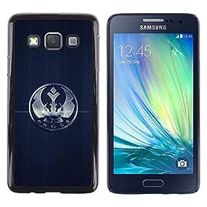 TopCaseStore / la caja del caucho duro de la cubierta de protección de la piel - Crown Sign Badge Mark Simple Black Emblem - Samsung Galaxy A3 SM-A300