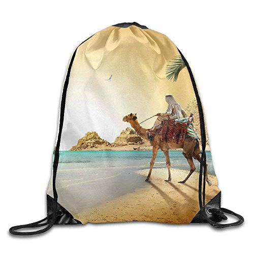 Unisex Egypt Desert Camels Coast Ships Sailing Cairo Print Drawstring Backpack Rucksack Shoulder Bags Gym Bag Sport Bag