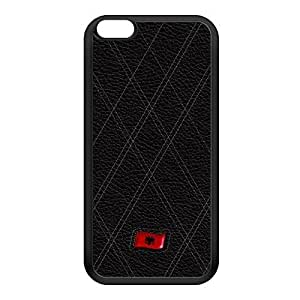 Stylish Black Leather Flag of Albania - Abanian Flag - Flamuri i Shqiperise Black Silicon Rubber Case for iPhone 6 Plus by UltraFlags + FREE Crystal Clear Screen Protector