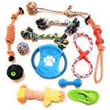Pu P Toys! Dog Puppy Chew Toys 12 Pack-Durable Large Pet Toys For Playtime And Effective Teeth Cleaning-Treat Ball, Squeak Toys, Small Balls, Interactive Ball Rope - Kong Dog Toys,(Assorted Colors)
