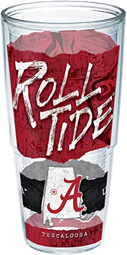 Bottle Insulated Alabama (Tervis 1218941 Alabama Crimson Tide College Statement Insulated Tumbler with Wrap, 24oz, Clear)