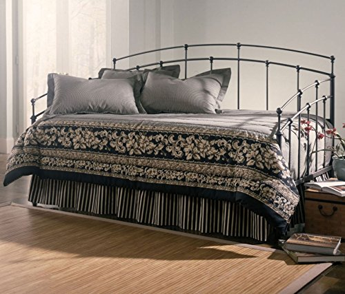 Leggett & Platt Fenton Complete Metal Daybed with Link Spring Support Frame and Gentle Curves, Black Walnut Finish, Twin