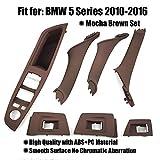 FEXON Inner Door Panel Handle Pull Trim Cover for BMW 5 Series 2010-2016 with Door Handle Pull Trim Panel and Power Window Trim Mocha Brown Set(7PCS)