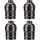 KINGSO 4 Pack E27 Socket Screw Bulbs Edison Retro Pendant Lamp Holder Without Switch and Cord 110-220V (Black)