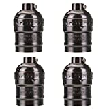 KINGSO 4 Pack E27 Socket Screw Bulbs Metal Shell Medium Base Edison Retro Pendant Lamp Holder Without Switch and Cord 110-220V (Black)