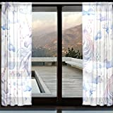 Cheap DEYYA Mythology Unicorn Horse Bedroom Sheer Panels – Artificial Polyester Sheer Curtains/Drapes W55 X L110 for Bedroom Pack of 2 Panels