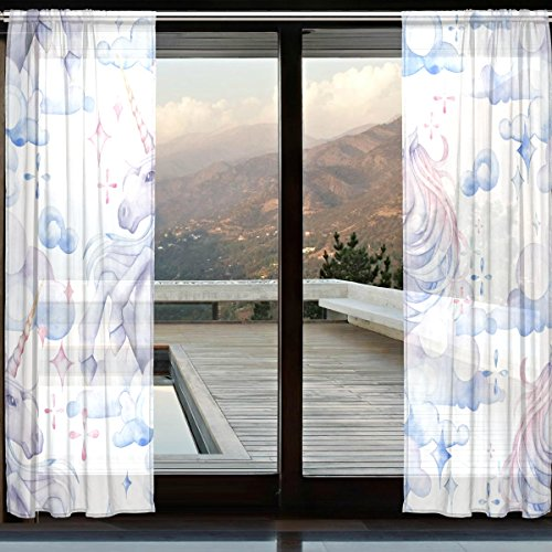 DEYYA Mythology Unicorn Horse Bedroom Sheer Panels - Artificial Polyester Sheer Curtains/Drapes W55 X L110 for Bedroom Pack of 2 Panels