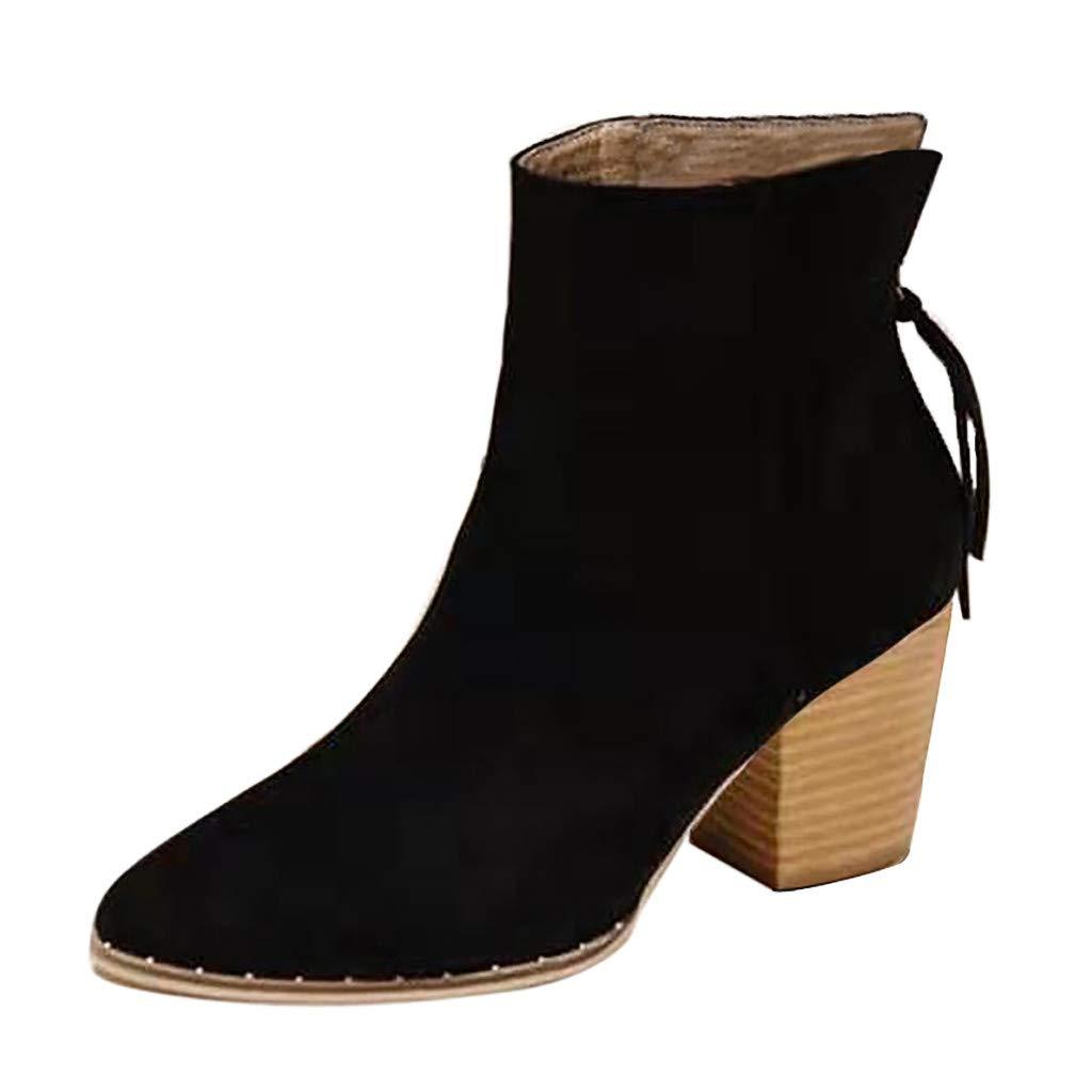 Caqui Marr/óN 35-41 EU AIni Botines Mujer Tac/óN Medio Invierno Tac/óN Plano Botas Anchas De Cuero Botines Moda Ocio Tama/ñO Grande 7cm Zapatos Planos Ocasionales Zapatos Negro