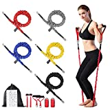 Resistance Band Set with foam Handles, Door Anchor, Ankle Strap, Carrying Bag, Guide Booklet - Protective Nylon Sleeves - Anti Snap - 100% Life Time Guarantee - Both Men and Women are Available