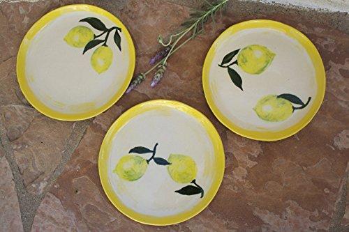 Lemon Plate set of 3 handmade ceramic dinnerware (Marina Set Dining)