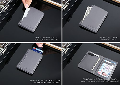 379cc06c79e3 Wallets for Men Slim Mens leather RFID Blocking Minimalist Card Front  Pocket Bifold Travel Thin (