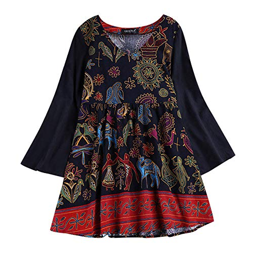 - Clearance! Womens Vintage Linen Floral Print Blouse, Casual Loose Long Sleeve Tunic Top Pockets Plus Size M-5XL (Multicolor 1, 3X-Large)