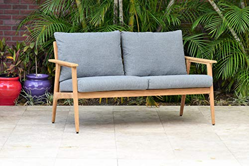 Brampton Amazonia Banfield Outdoor Sofa | Made of Durable Teak Wood with Cushions | Perfect for Patio, Light Brown