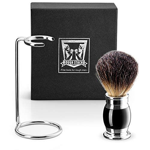 Shave Brush Black Handle - Shaving Brush Set - Professional Shaving Brush with 100% Pure Badger Bristles -Black Resin Handle and Solid Chrome Shaving Brush Stand for Wet Shave -Safety Razor - Straight Razor