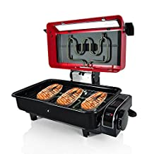 Nutrichef Electric Fish Grill Indoor Cooking - Small Outdoor Backyard BBQ For Fish Steak Meat Skewer & Seafoods - High Griddle Heat Searing Removable Countertop & Washable Cover Cook Tray Red (PKFG14)