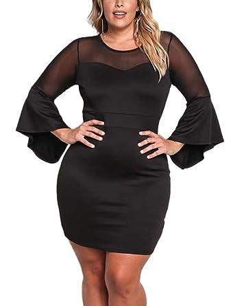 61f278d564 Lalagen Women's Sexy Mesh Long Sleeve Cutout Bodycon Plus Size Club Mini  Dress Black XL