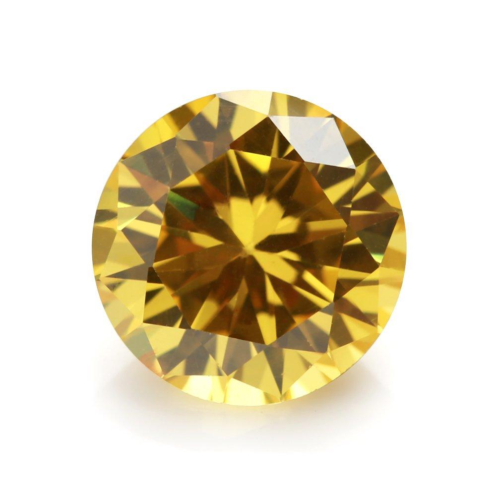 1.0mm~16mm 5A Round Machine Cut Golden Yellow Color Cubic Zirconia Stone Loose CZ Stones JIANGYUANGEMS (6.0mm 50pcs)