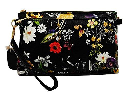 Mellow World Floral Bag (Mellow World Evie Floral Wristlet - black) by Mellow World