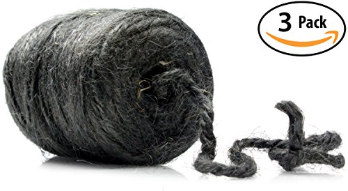 Black Jute (High-Strength Jute Twine 200ft, 3 Roll Pack. Pro-Grade, 3-Ply Cord Rated at 48lb. Center-Pull for Easy Use. Made of Natural, Eco-Friendly Vegetable Fibers. Great for Strapping, Tying Packages & More.)