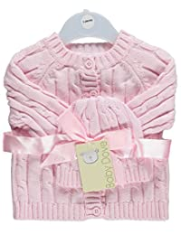 Baby Dove Baby Girls' Cable Knit Cardigan & Beanie Set - pink, 3 - 6 months