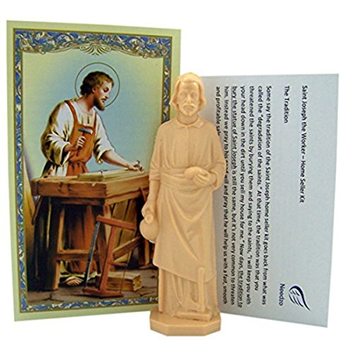 Religious Gifts Saint Joseph Statue Home Seller Kit with Prayer Card and -