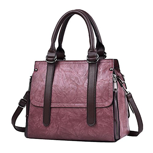 Hand Pu Handbag Leather Bag Purple Bags Tote Women Upper Bag Shoulder Girls 7qxqRwEOz