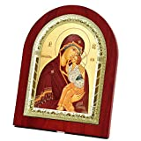 FengMicon Virgin Mary and Baby Jesus Wooden Back with Metal Trim Frame Christian Icon Catholic Gift