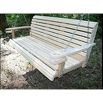5 Ft USA Made Cypress Roll Back Porch Swing With Swing Mate™ Comfort Springs Home Design Ideas