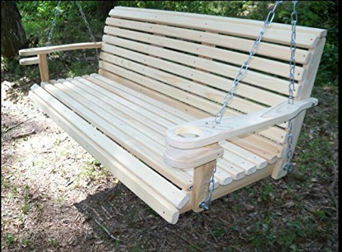 5 Ft USA Made Cypress Roll Back Porch Swing with Swing-mate™ Comfort Springs and Cup Holder Arm and Stainless Steel Hardware Upgrade