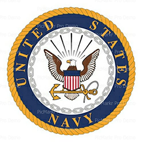 U.S. Navy Logo Birthday Edible Cake/Cupcake Party Topper for 8 inch round cake or larger