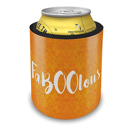 NEONBLOND FaBOOlous Halloween Orange Wallpaper Slap Can Cooler Insulator Sleeve -
