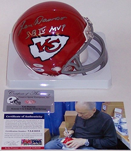 Len Dawson Autographed Hand Signed Kansas City Chiefs Throwback Mini Football Helmet - with Super Bowl IV MVP Inscription - -