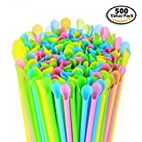 500 Pack - Sno-Cone Spoon Drinking Straws, Assorted Neon Colors Disposable Plastic Straw, 7-1/4