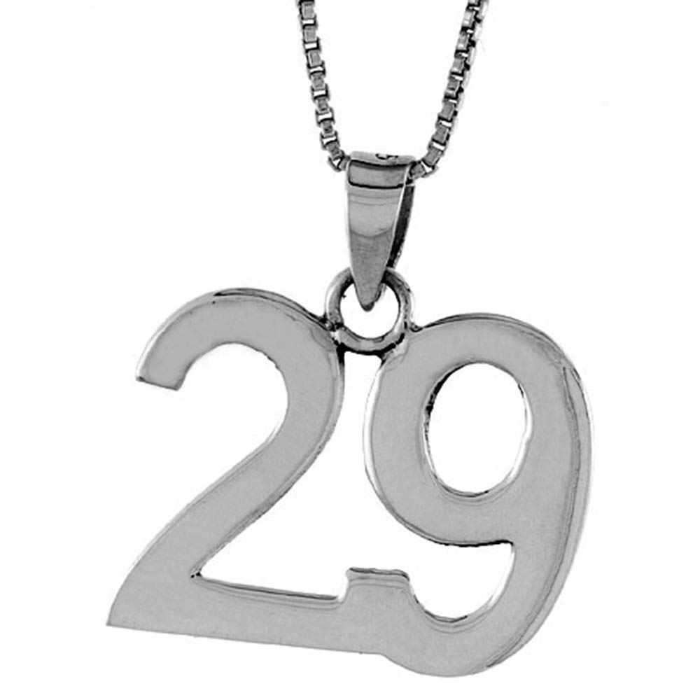 Sterling Silver Number 29 Necklace for Jersey Numbers /& Recovery High Polish 3//4 inch 2mm Curb Chain