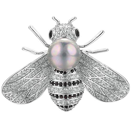 Yoursfs Honey Bee Brooches Brooch Pins for Womens Ladies Shell Pearl Safety Pin Accessories White Gold