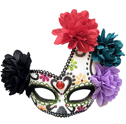 Women's Masquerade Mask Mexican Day Of The Dead Sugar Skull Eyemask Masque Fancy Dress (Green/White/Black)