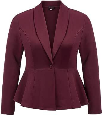 Hanna Nikole Women Plus Size Casual Lapel One Button Work Office Blazer Jacket