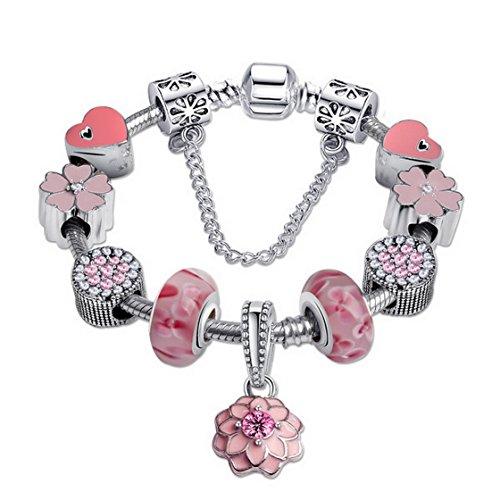 Price comparison product image Aivtalk Pink Glass Beads Carved Bracelet Chain Charm Strand Bracelet for Teen Girls Kids Women 7.48''