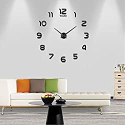 Frameless Large 3D DIY Wall Clock Mute Mirror Stickers Home Office School Decoration (Black-012)