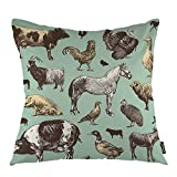 oFloral Horse Throw Pillow Cover Cow Pig Chicken Farm Animals Goose Countryside Agriculture