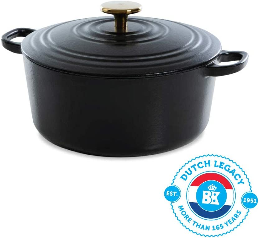 BK Cookware H6079.528 BK Bourgogne Dutch 28cm/6.7L, hierro fundido, revestimiento esmaltado, tapa con anillos de goteo, inducción/horno/lavaplatos, color negro