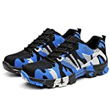YING LAN Men's Camo Steel-Toe Safety Protective Work Industrial and Construction Sport Shoes Blue