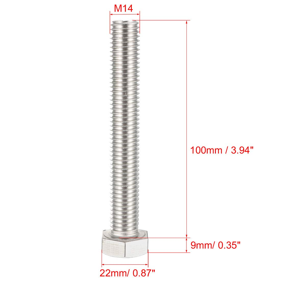 uxcell M10 Thread 65mm 304 Stainless Steel Hex Head Screw Bolts Fastener 5pcs
