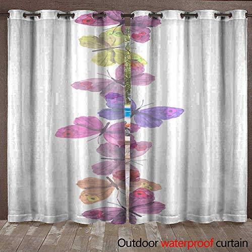 BlountDecor Outdoor Blackout Curtain Seamless Light Transparent Ribbon Frame with Delicate Butterflies Waterproof CurtainW120 x L108