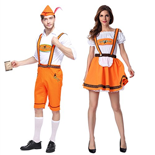 German Beer Bavarian Oktoberfest Couple Lederhosen Costume (XL, Couple)]()