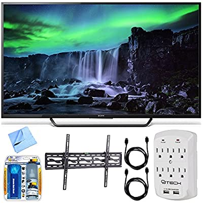 Sony XBR-65X810C - 65-Inch 4K Ultra HD 120Hz Android Smart LED TV Tilt Mount Bundle includes 65-Inch 4K UHD TV, Mount, Cleaning Kit, Micro Fiber Cloth, 2 HDMI Cables and Surge Protector w/ USB Ports
