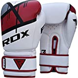 RDX Ego Boxing Gloves Muay Thai Training Professional Maya Hide Leather Sparring Punching Bag Mitts Kickboxing Fighting, Red/12 oz(2 Pair)