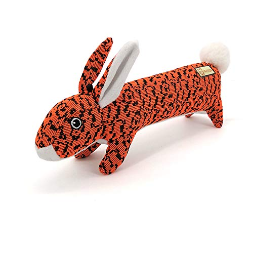 AXEN Bunny Durable Flyknit Dog Toy, Lovely Chewers, Interactive Squeakers, Orange Rabbit