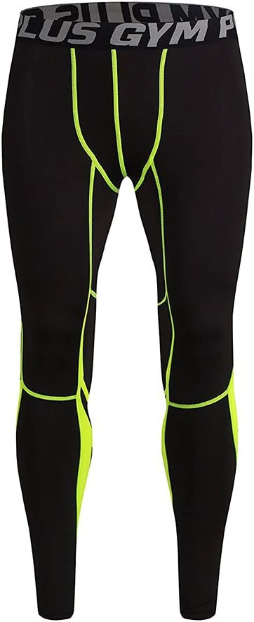 FE-102 FELICON GYM Mens Running Sports Cycle Pants Men Mens Compression Tights Wear Workout Clothes Quick Dry Breathable Comfortable Leggings Base Elite Fitness Trousers Thermal Wow XL, Green