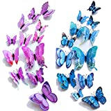 【Double Wings】 TERSELY 24 Pack Blue + Purple 3D Butterfly Wall Removable Sticker Decals, Home Decoration DIY Removable…